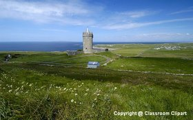 Castle found along the coast of Ireland. Image provided by Classroom Clip Art (http://classroomclipart.com)