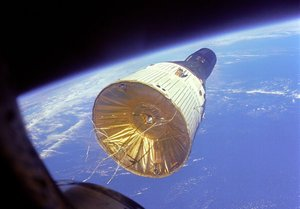 The crew of Gemini 6 took this photo of Gemini 7 when they were about 7 metres apart