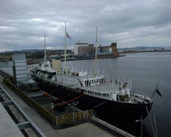 "Former Royal Yacht ""Britannia"" is permanently moored at Leith harbour."