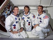 The Apollo 7 crew: Donn Eisle (l.), Wally Schirra (c.), and Walter Cunningham (r.)
