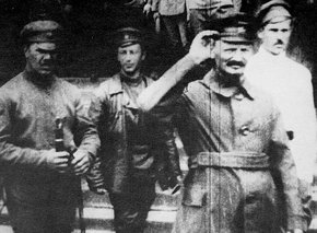 Trotsky with troops at the Polish front, 1919