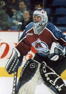 Patrick Roy playing for the Colorado Avalanche in 1999