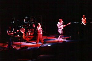 The progressive rock band Yes performing in 1977.