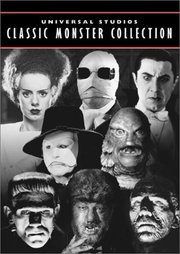 "DVD cover showing characters made famous by Universal Studios.  from  (1935),  from  (1933),  from  (1931), Claude Rains from  (1943), ""The Creature"" from  (1954),  from  (1931),  from  (1941) and Boris Karloff from  (1932)"