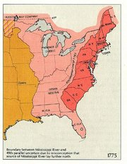 In 1775, the  claimed authority over both the red and pink areas on this map and  ruled the orange west of the .  The red area is the area of the 13 colonies after the Proclamation of 1763. (Map produced by U.S. Dept. of Interior.)