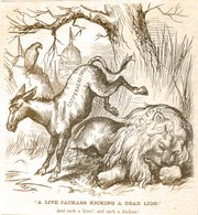 """A Live Jackass Kicking a Dead Lion"" by Thomas Nast"