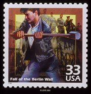 American postage stamp commemorating the fall of the Berlin Wall, which marked the symbolic end of the Cold War.