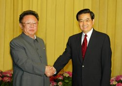 Kim Jong-il with Chinese President  in April 2004