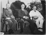 L-R: President Chiang Kai-shek of China, US President Roosevelt, and British Prime Minister Winston Churchill in Cairo, 11/25/1943