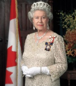 Queen Elizabeth II wearing the Sovereign's insignia of the  and the