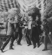 Leon Czolgosz shoots President McKinley with a concealed revolver, at the Pan-American Exposition.