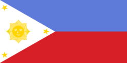This is a depiction of the original flag of the Philippines as it was conceived by Gen. Emilio Aguinaldo. The blue was of a lighter shade than the currently mandated royal blue, the sun had many more rays although it still had eight points, and it has a mythical face.