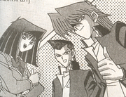 Yugi's three best friends: (from left to right)  (Téa),  (Tristan),  (Joey)