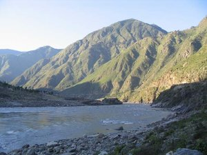 The Indus River in northern , near the rock Aornus.