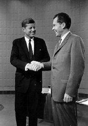 Vice President Nixon, right, and Senator John Kennedy during their TV debate prior to the 1960 presidential election