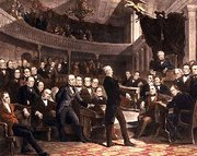 takes the floor of the Old Senate Chamber; Millard Fillmore presides as  and  look on.