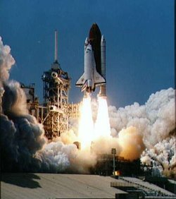 The Space Shuttle Columbia is initially launched using solid-fuel boosters