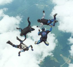 Skydivers in the freefall portion of a .