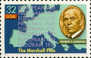 U.S. postage stamp issued 1997 honoring the 50th anniversary of the Marshall Plan.