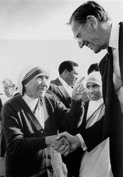 Mother Teresa with . Keating donated $1.25 million to her order, and was later convicted of financial fraud.