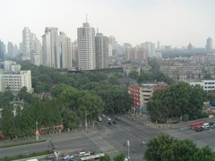 A photograph of the Nanjing skyline.