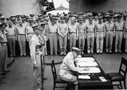 Japan formally surrenders aboard the USS Missouri in Tokyo Bay