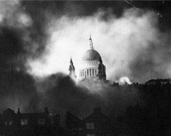 St. Paul's Cathedral during the bombing of London.