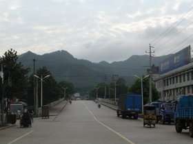 A street in Yaodu, a small town and county seat of ,  , southern Anhui Province