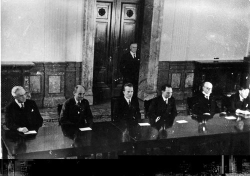 The Nuremberg judges, left to right: , Francis Biddle, , , ,