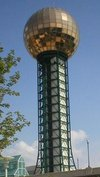 The Sunsphere, from the 1982 World's Fair, characterizes the Knoxville skyline