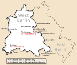 Map of the Berlin Wall, showing crossing points