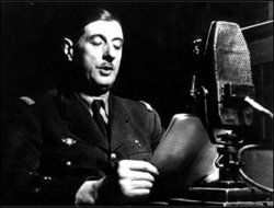 General de Gaulle speaking on the BBC during the war.
