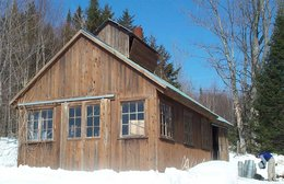 A sugarshack where sap is boiled down to maple syrup.