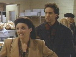 Julia Louis-Dreyfus as Elaine, and Jerry Seinfeld as himself