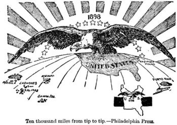 "Post Spanish-American War U.S.  from 1898: ""Ten Thousand Miles From Tip to Tip"" meaning the extention of U.S. domination (symbolized by a ) from Puerto Rico to the Philippines. The cartoon contrasts this with a map of the smaller United States 100 years earlier in 1798."