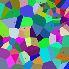 This is the Voronoi diagram of a random set of points in the plane (all points lie within the image).