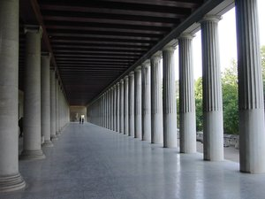 A restored Stoa in Athens, .
