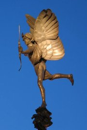 The statue known as Eros in  London, was made in  and is one of the first statues to be cast in aluminium.
