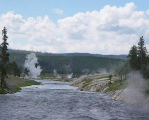Firehole River near Excelsior Geyser. The heat from the series of mega-eruptions continues to feed Yellowstone's many geysers, hot springs, and mud pots.