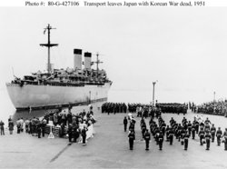 During the , the  used Yokohama's port as a transshipment base. This ship departed Yokohama in 1951, carrying war dead home to the U.S.