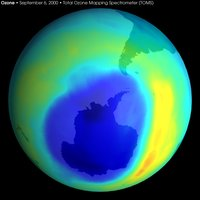 Image of the largest antarctic ozone hole ever recorded in September 2000. Data taken by the Total Ozone Mapping Spectrometer (TOMS) instrument aboard NASA's Earth Probe satellite.