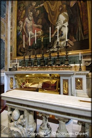 The Chair of Saint Peter, Cathedra Petri, is hoisted onto an altar in the basilica apse.