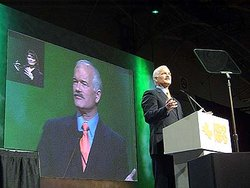 Jack Layton addresses the 2003 NDP convention in , where he was elected leader