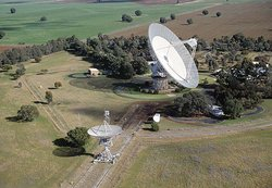 The Parkes 64 metre radio telescope in New South Wales, Australia (the bigger of the two shown)